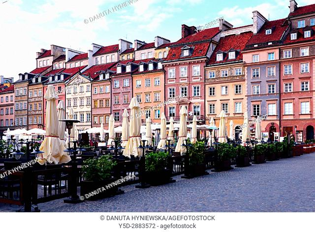 Facades of historic townhouses, Old Town Market Place - Barssa side, UNESCO World Heritage Site, Warsaw, Poland, Europe