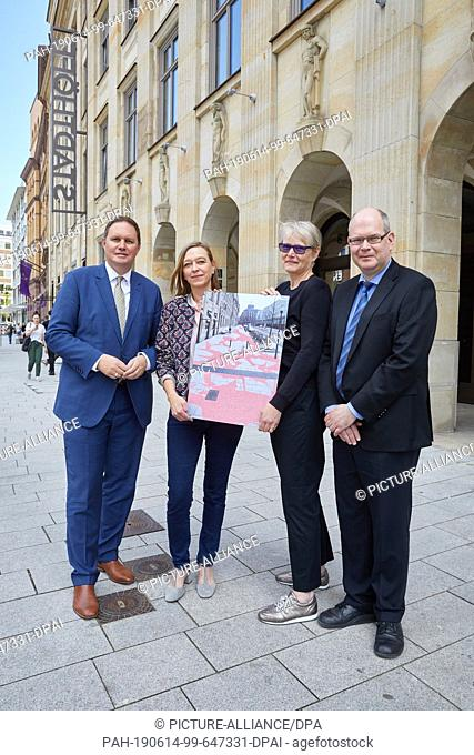 "14 June 2019, Hamburg: Ute Vorkoeper (2nd from left) and Andrea Knobloch, the winners and artists under the common name """"missing icons"""""