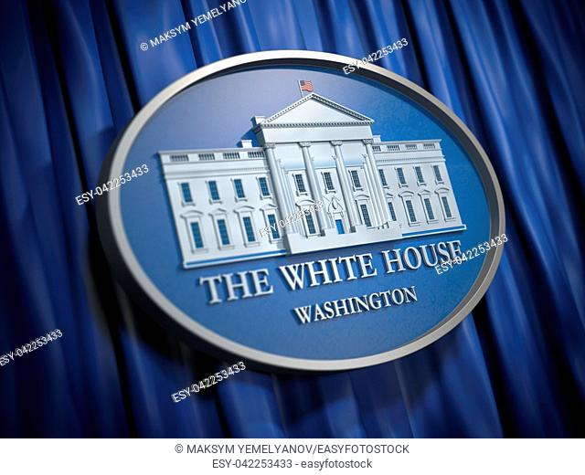 The White House Washington sign on blue background. 3d illustration