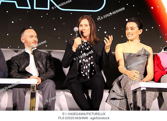"""Chris Terrio, Kathleen Kennedy 12/04/2019 """"""""Star Wars: The Rise of the Skywalker"""""""" Press Conference held in Pasadena, CA. Photo by I"""