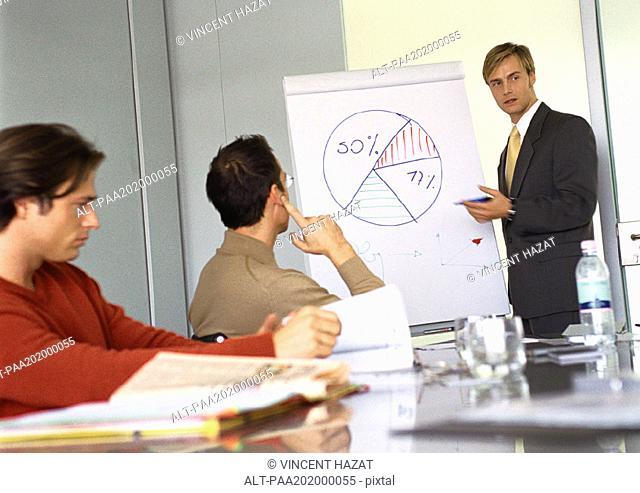 Businessmen attending presentation