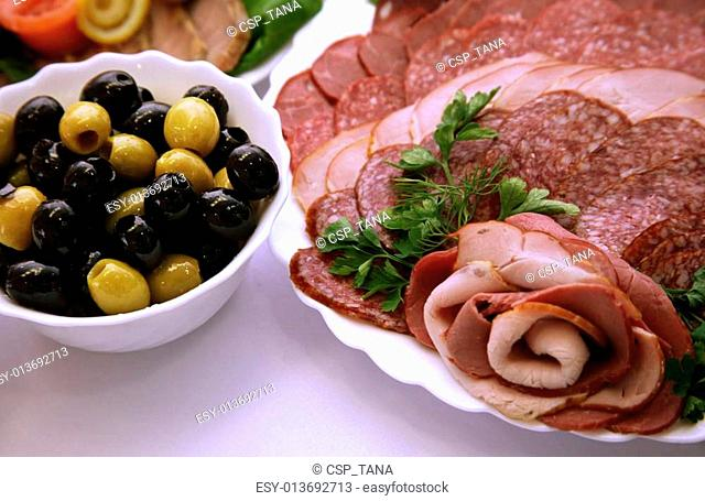 Olives and sausage