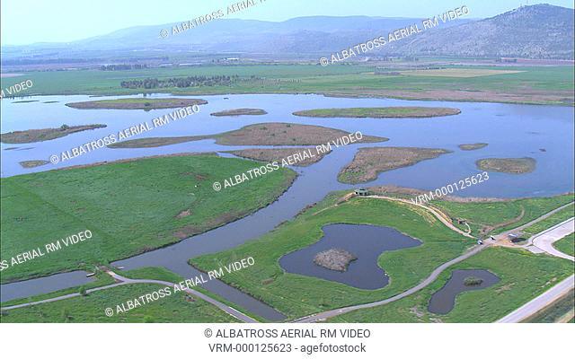 Aerial footage of hula lake in the Upper Galilee; Israel