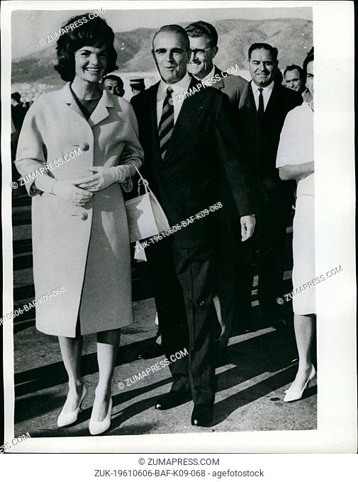 Jun. 06, 1961 - MRS. Kennedy Arrives In Athens: MRS> Jacqueline Kennedy, wife of the United States president, arrived in Athens yesterday for a private...