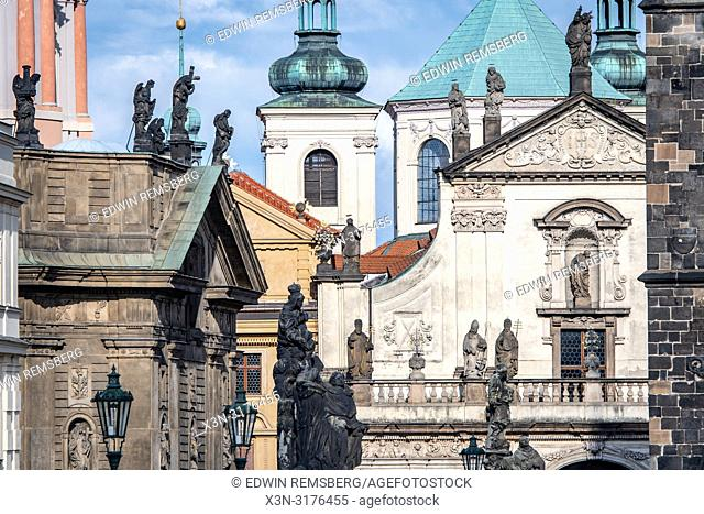 Distant view of miscellaneous architecture amongst the skyline of Prague - Czech Republic