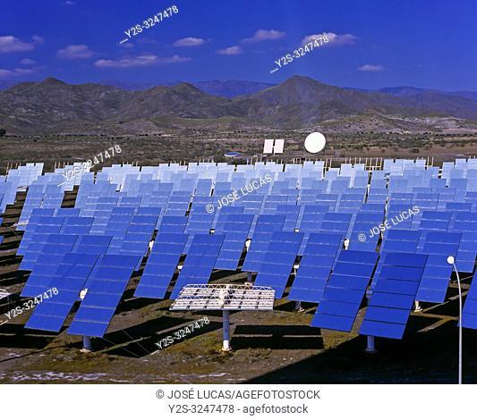 Solar power plant, Tabernas, Almeria province, Region of Andalusia, Spain, Europe