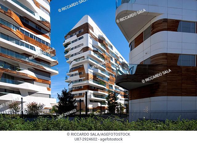 Italy, Lombardy, Milan, CityLife, Zaha Hadid Residences. .