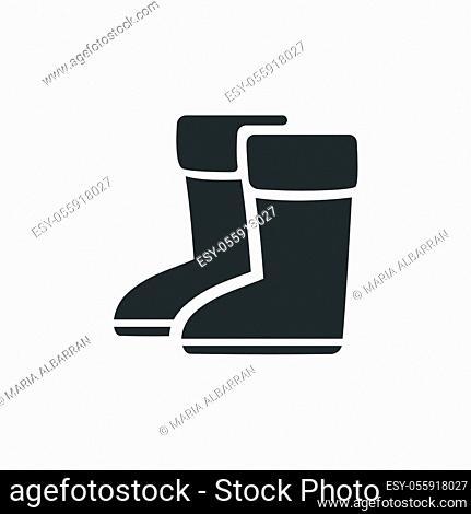 Rain boots. Isolated icon. Winter footwear flat vector illustration