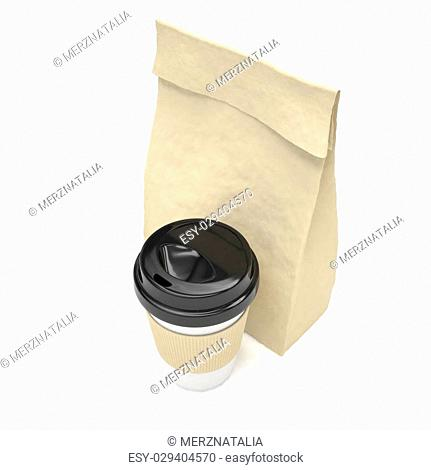 Coffee to go and lunch bag, on white