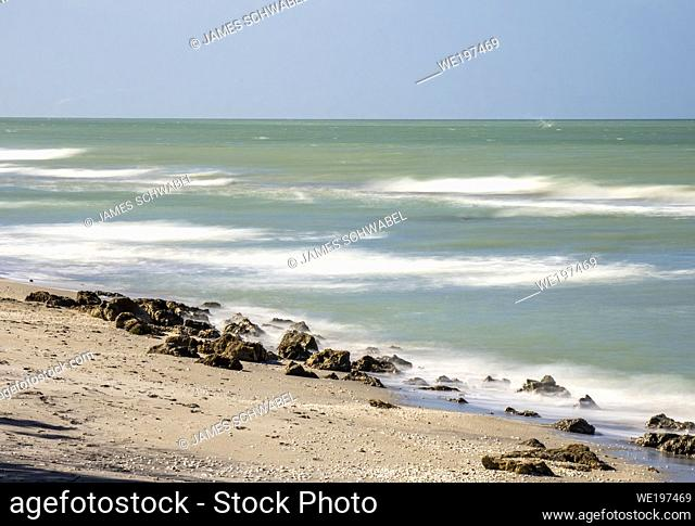 Long exposure to blur water of Gulf of Mexico at Caspersen Beach in Venice Florida USA