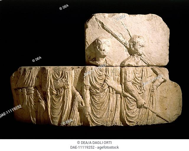 Roman civilization, 1st century A.D. Relief depicting a magistrate, a lictor and two characters. Copy of the relief of the Palazzo Comunale (town hall) of Osimo