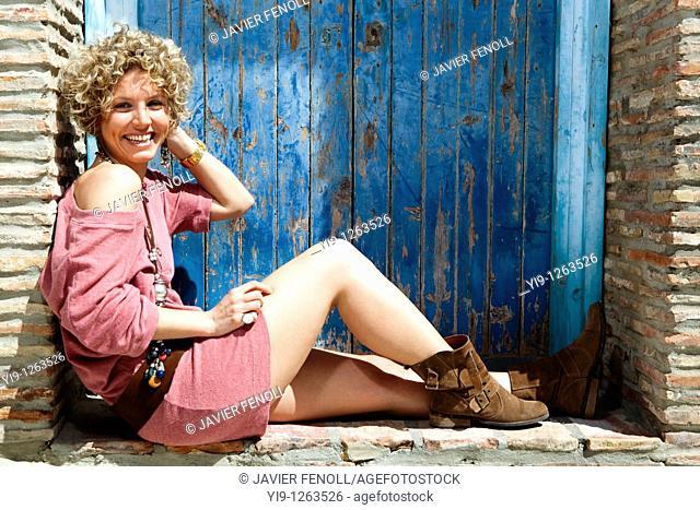 Portrait of pretty Caucasian woman posing