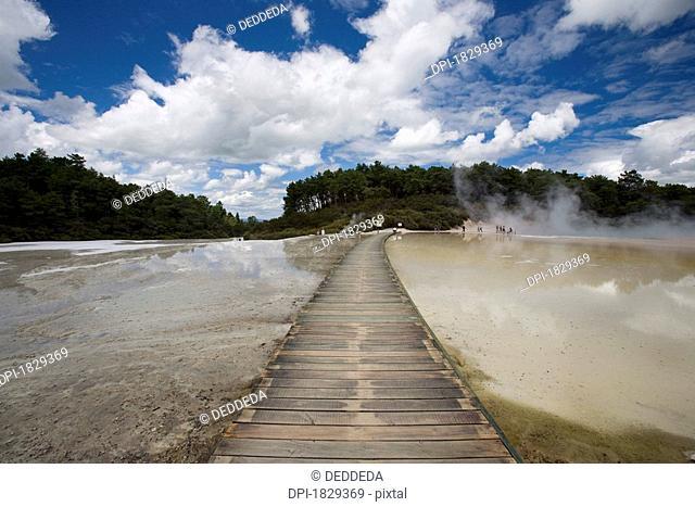 Bridge at geothermal site, Wai-O-Tapu Thermal Wonderland on North Island of New Zealand
