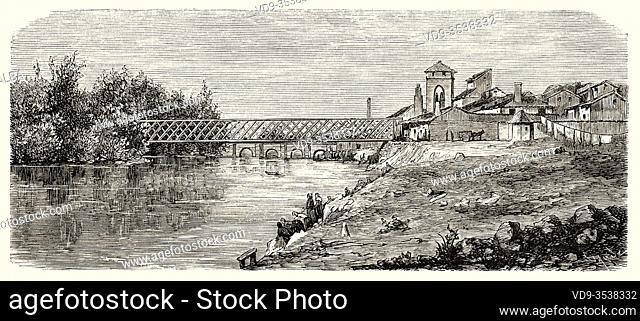 19th century wooden tubular bridge over the Carrión river, Palencia, Castile Leon. Spain, Europe. Old 19th century engraved illustration