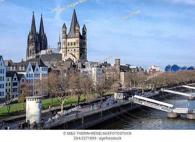 Great Saint Martin Church and Cologne Cathedral, North Rhine Westphalia, Germany