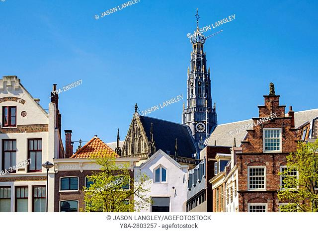 Netherlands, North Holland, Haarlem. Buildings along the Spaarne River