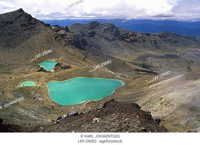Emerald Lakes, Tongariro Crossing, Volcanic landscape, Tongariro National Park, North Island New Zealand, World Heritage, Erbe der Menscheit