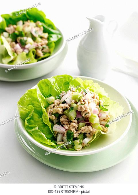 Plate of rice and vegetables in lettuce