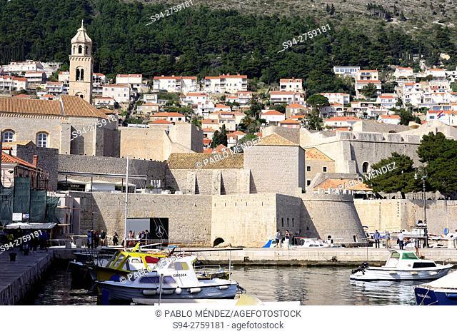 Walls and harbour of Dubrovnik, Croatia