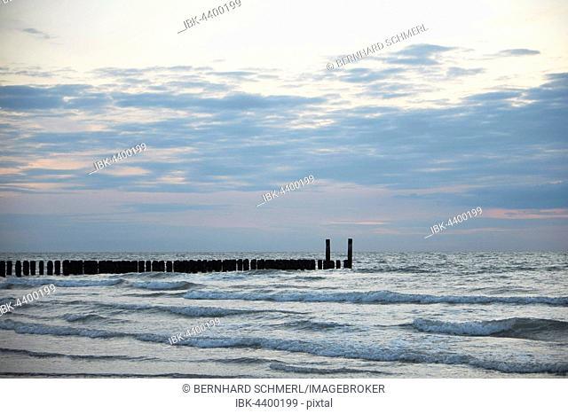 Bollards on the beach of Domburg, Zeeland province, North Sea Coast, Holland, The Netherlands