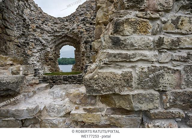 Koknese castle ruins. Latvian medieval castles. Archaeological monument of national importance. The medieval castle of Koknese was a stone castle built in the...