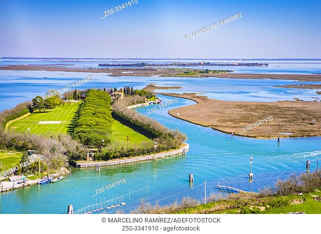 View from the Torcello bell tower of the Venetian Lagoon. Torcello, Venetian Lagoon, Venice, Veneto, Italy, Europe