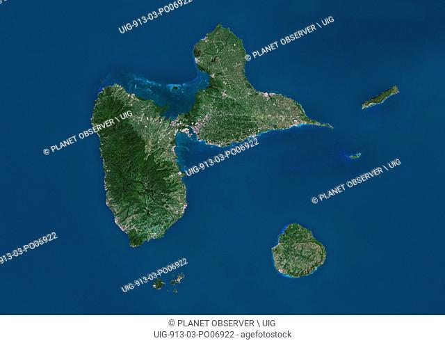 Satellite view of Guadeloupe. This image was compiled from data acquired by Landsat satellites
