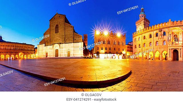 Panorama of Piazza Maggiore square with Basilica di San Petronio and Palazzo d'Accursio or Palazzo Comunale at night, Bologna, Emilia-Romagna, Italy