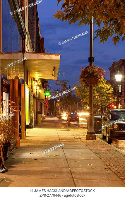 A view of the sidewalk along Dundas Street in downtown Greater Napanee, Lennox and Addington County, Ontario, Canada