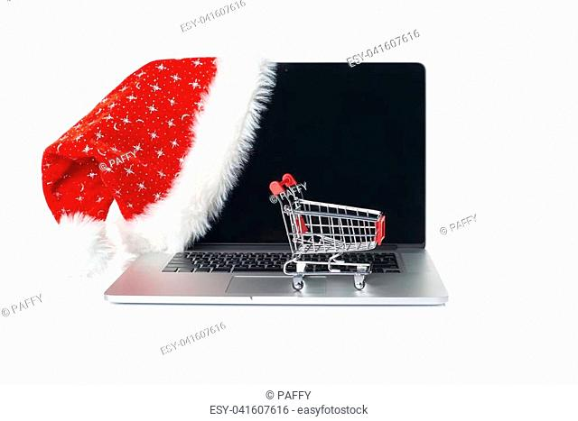 7117c8a390023 Online Christmas shopping. A set up with laptop