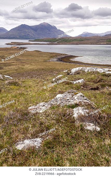 The barren landscape on the banks of Upper Loch Torridon in the Wester Ross area of the Scottish Highlands