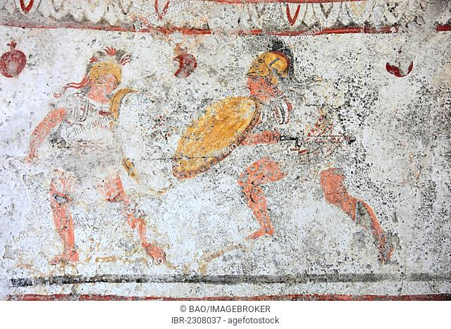 Grave painting from a chambered tomb, about 480 BC., Lucani period, Museum of Paestum, Campania, Italy, Europe