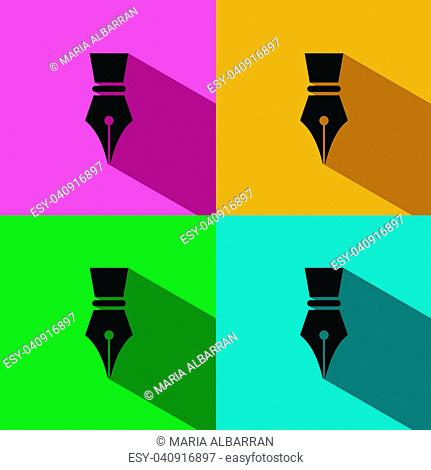 Fountain pen icon with shadow on colored backgrounds