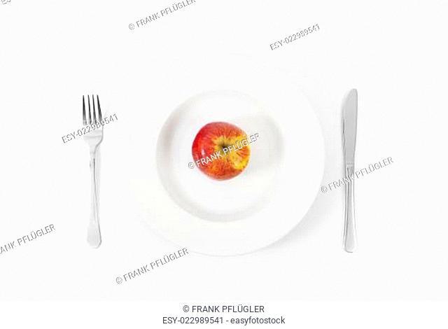 Apfel auf Teller