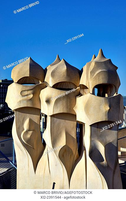 Casa Mila, popularly known as La Pedrera, meaning the 'The Quarry', is a modernist building in Barcelona, Catalonia, Spain