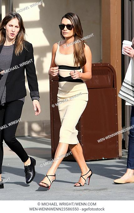 Lea Michele seen at Universal studios where she was interviewed by Mario Lopez for television show 'Extra'. Featuring: Lea Michele Where: Los Angeles
