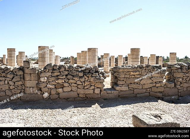 Archaeological ruins of Grand Mosque. Al-Baleed Archaeological Park. Member of The Land of Frankincense World Heritage Site