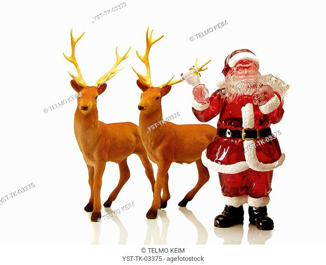 Christmas decoration, Santa Claus, deer, object, miniature, Christmas, Brazil