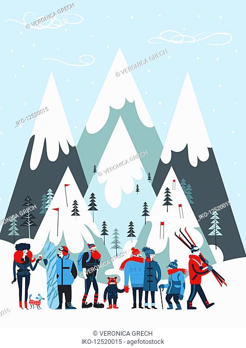 Group of people on winter holiday at ski resort
