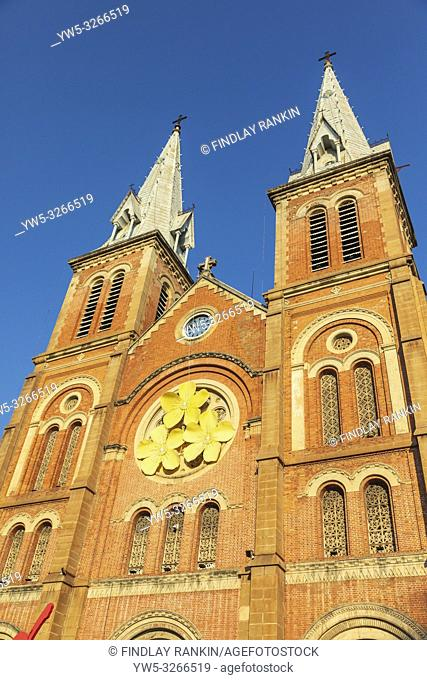 Detail of the twin square spires at Notre Dame Cathedral 91877 - 83) at the northwestern end of Dong Khoi. Its neo-Romanesque style is a major tourist...