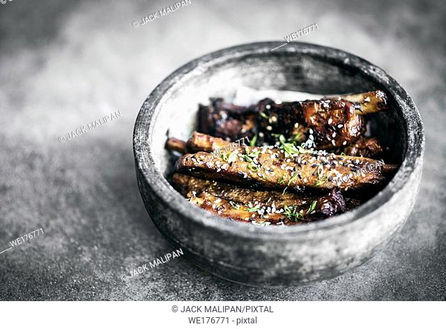 modern gourmet asian style barbeque spicy pork ribs with sweet soy sauce