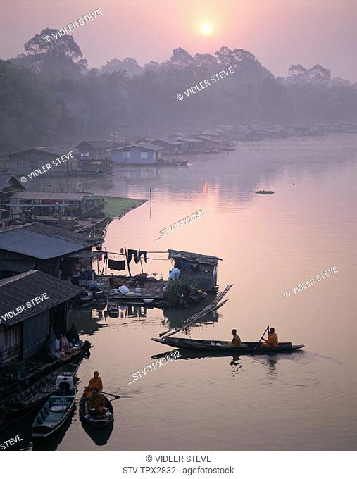 Asia, Boat, Holiday, Houses, Landmark, Mekong river, River, Sunrise, Thailand, Tourism, Travel, Vacation