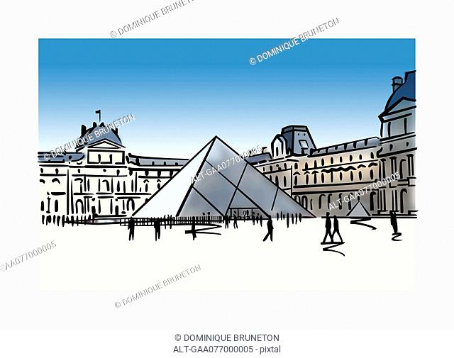 Illustration of the Louvre Pyramid in Paris, France