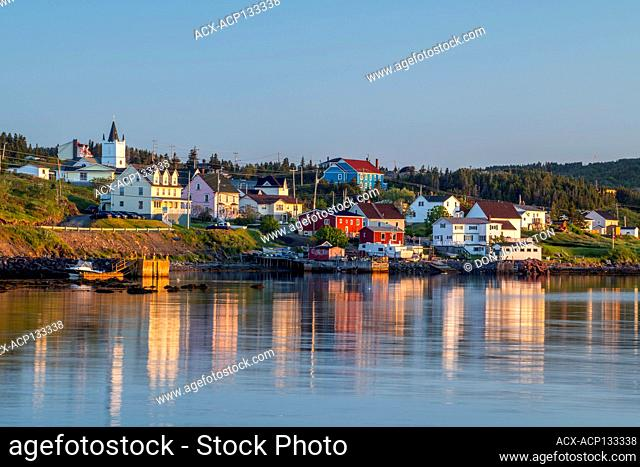 Shoreline buildings at sunrise, Twillingate, Newfoundland and Labrador NL, Canada