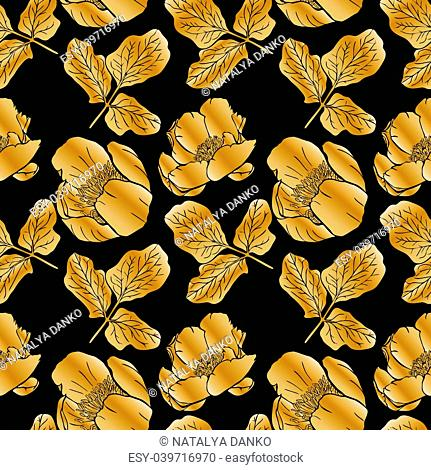 golden blooming peonies and leaves on black background, seamless pattern