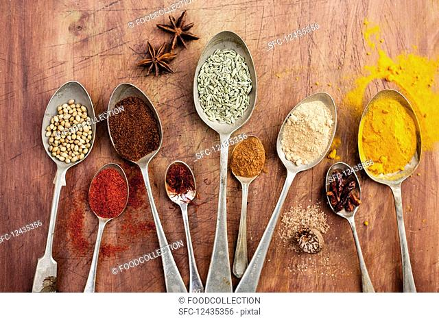 Assorted spices on vintage spoons