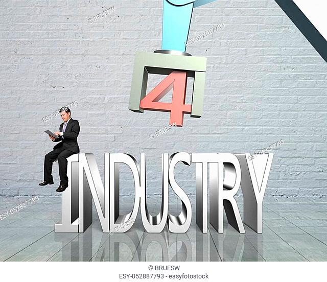 Industry 4. 0 concept. Man sitting on 3D text of industry 4. 0, using tablet to control robot arm