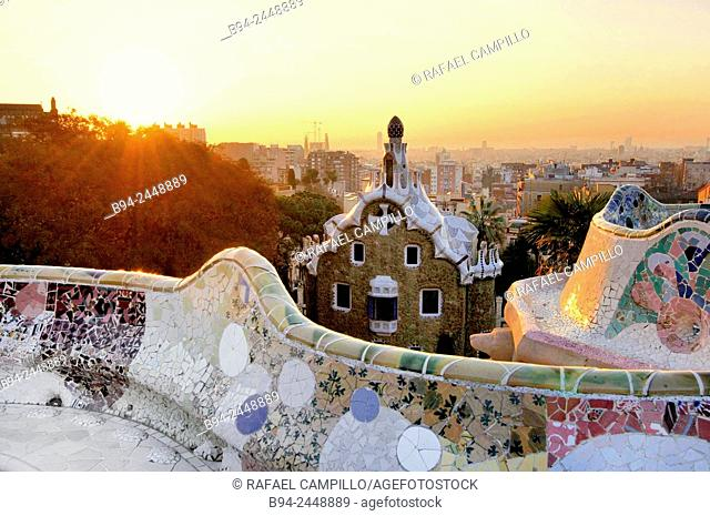 Parc Güell. Garden complex with architectural elements situated on the hill of el Carmel. Designed by the Catalan architect Antoni Gaudí and built in the years...