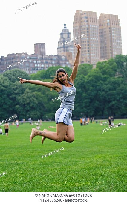 Attractive young woman in Central Park