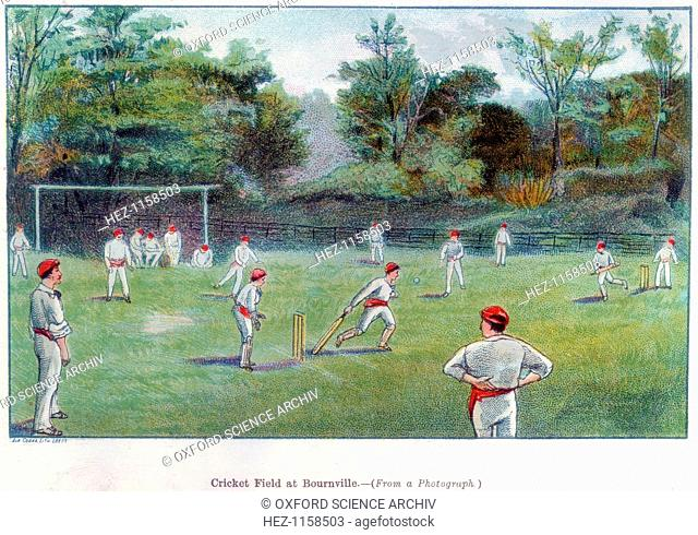 'Cricket Field at Bournville', 1892. Bournville was the ideal village built near Birmingham for their employees by the chocolate manufacturers Cadburys